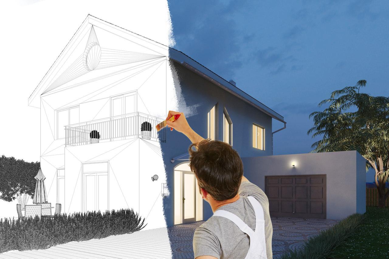 yarısı renklendirilmiş, yarısı hala çizim halinde duran ve önünde elinde fırçasıyla boya yapmakta olan iki katlı bir ev görseli