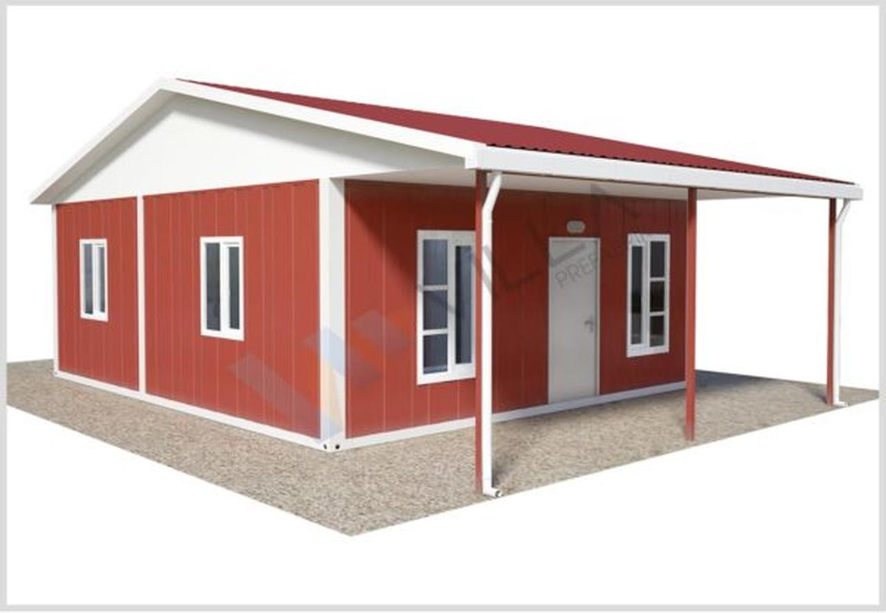 Tek katlı kırmızı renkli konteyner ev