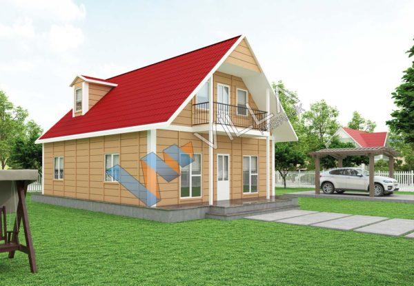 çift katlı prefabrik ev modelleme