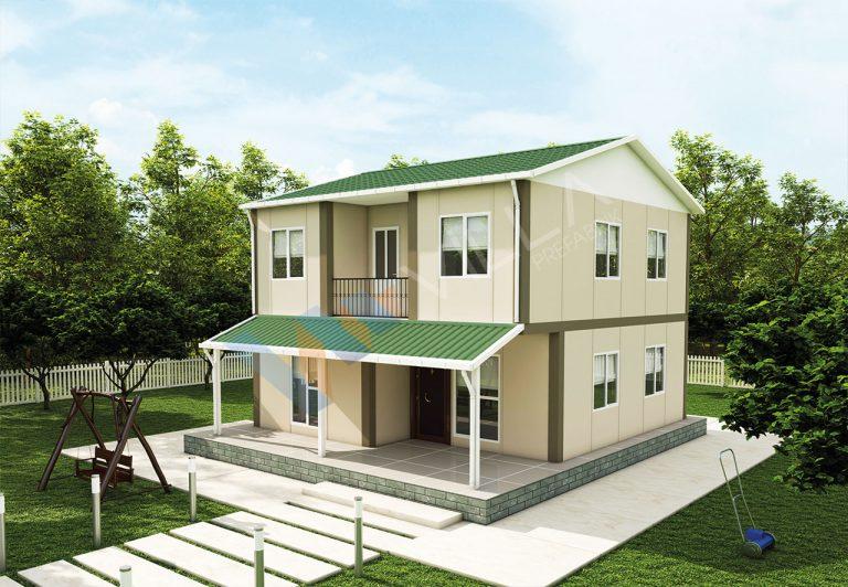 bahçesi olan çift katlı dublex prefabrik ev