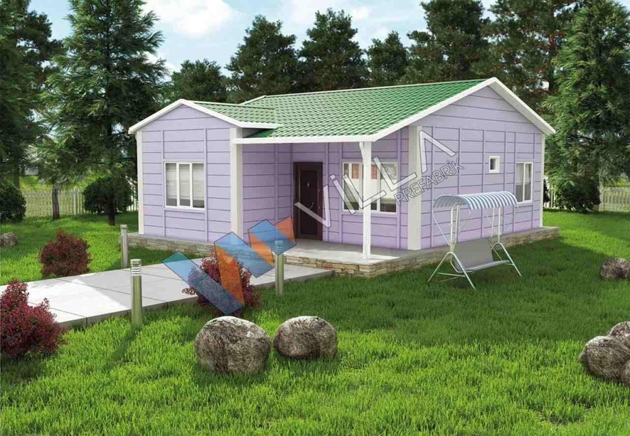 yeşil bir zemin üzerinde lila tek katlı prefabrik ev görseli