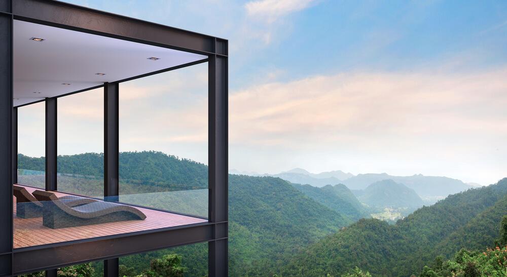 Lüks bir çelik yapı ev manzarası