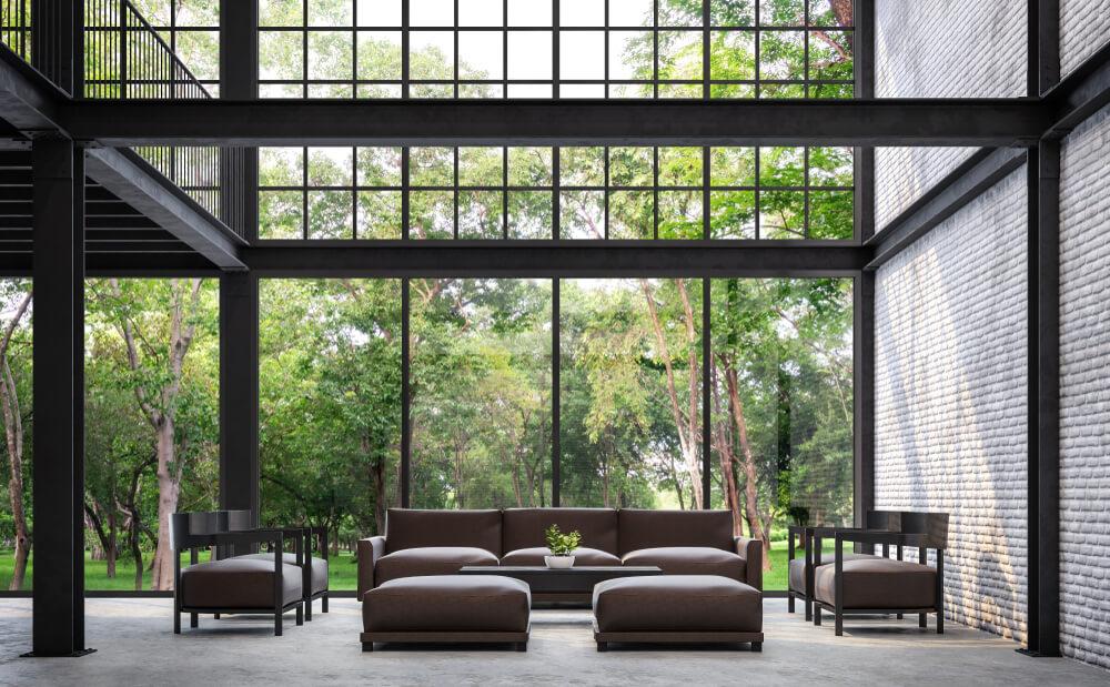Orman içinde çelik konstrüksiyon ev